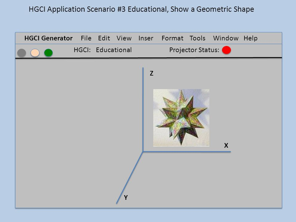 HGCI GeneratorFile Edit ViewInser t FormatTools Window Help Z X Y HGCI: EducationalProjector Status: HGCI Application Scenario #3 Educational, Show a Geometric Shape