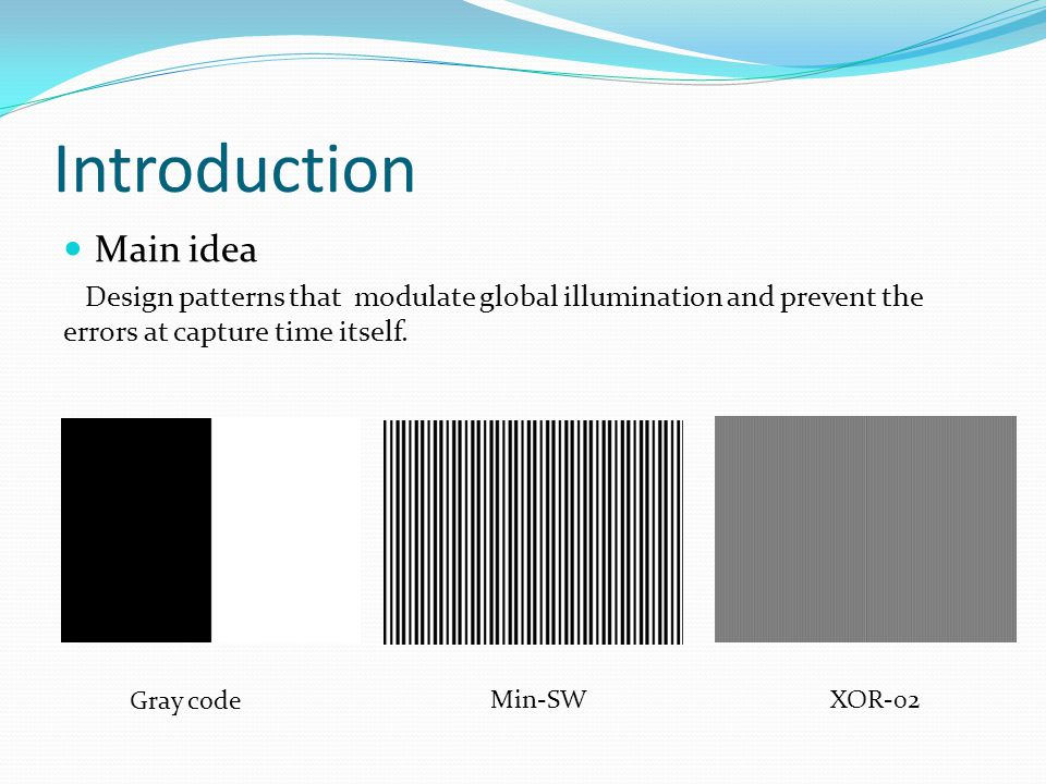 Introduction Main idea Design patterns that modulate global illumination and prevent the errors at capture time itself.