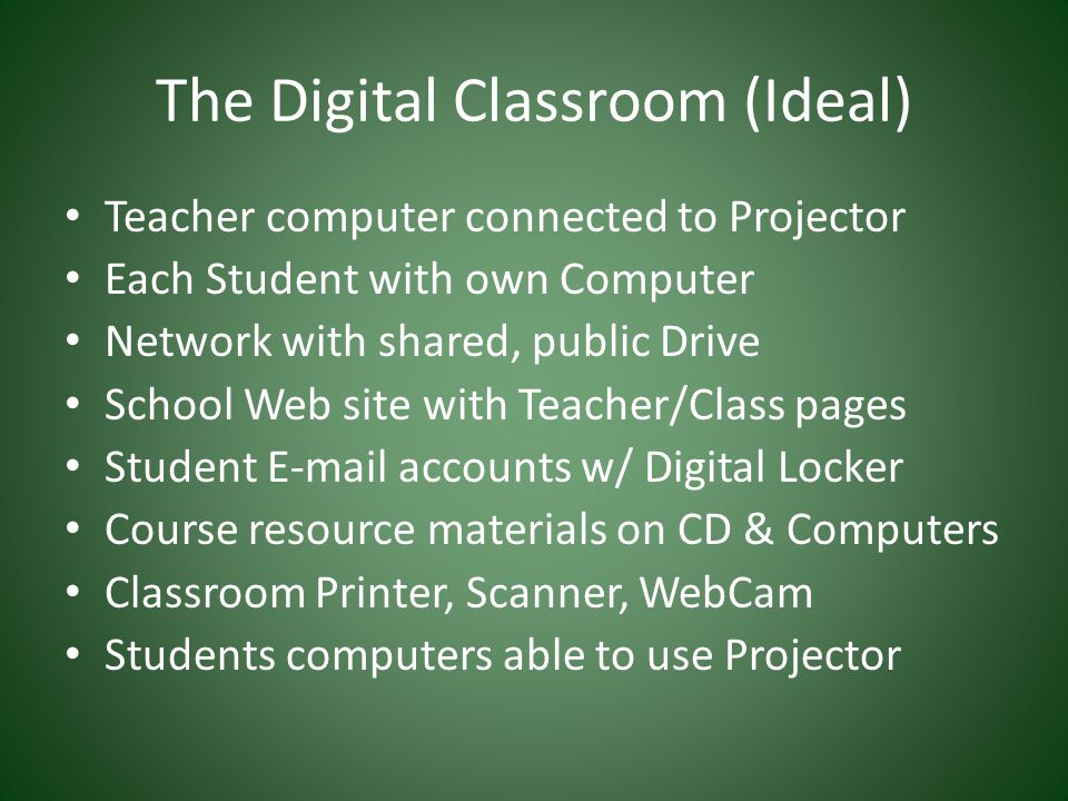 The Digital Classroom (Ideal) Teacher computer connected to Projector Each Student with own Computer Network with shared, public Drive School Web site with Teacher/Class pages Student E-mail accounts w/ Digital Locker Course resource materials on CD & Computers Classroom Printer, Scanner, WebCam Students computers able to use Projector
