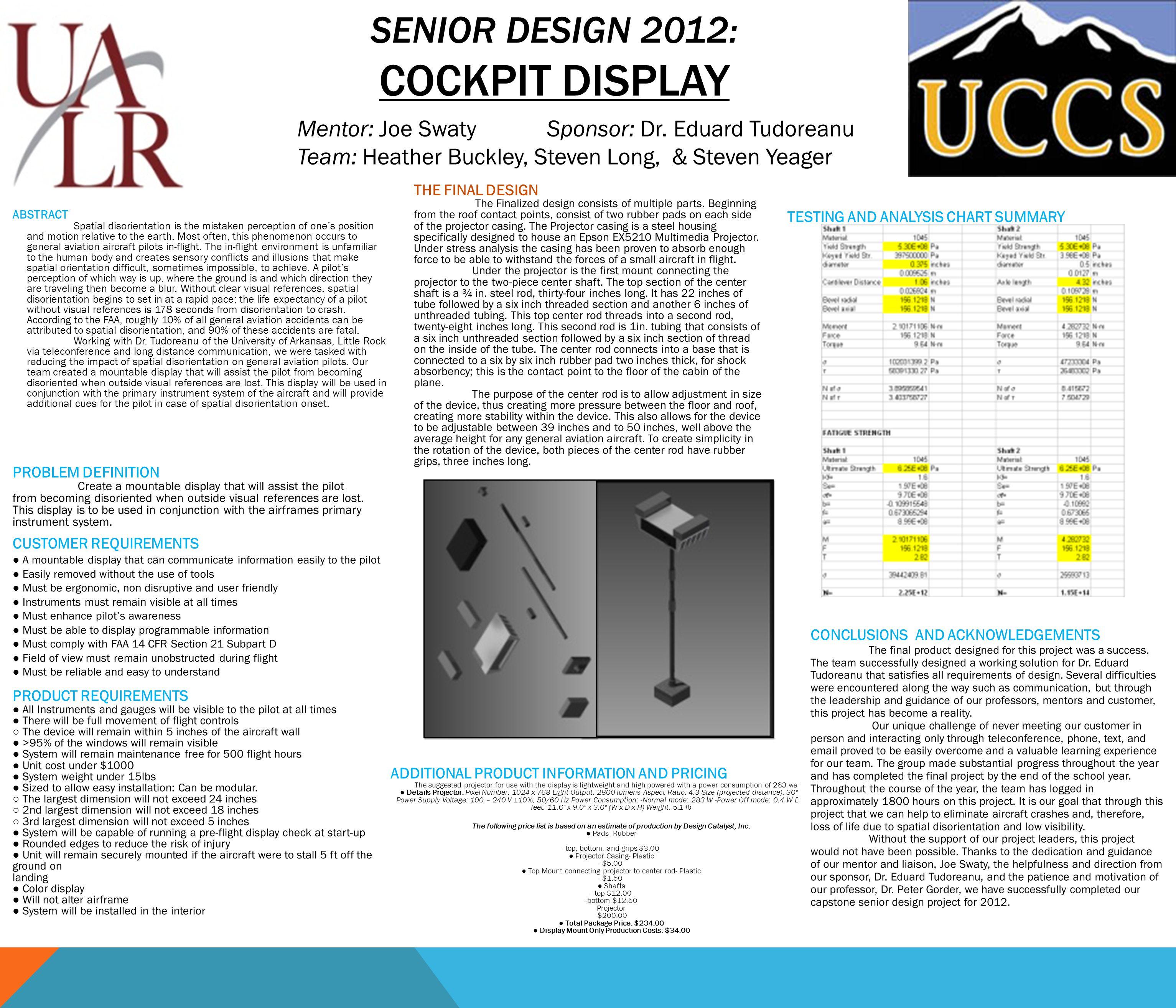 SENIOR DESIGN 2012: COCKPIT DISPLAY Mentor: Joe SwatySponsor: Dr.