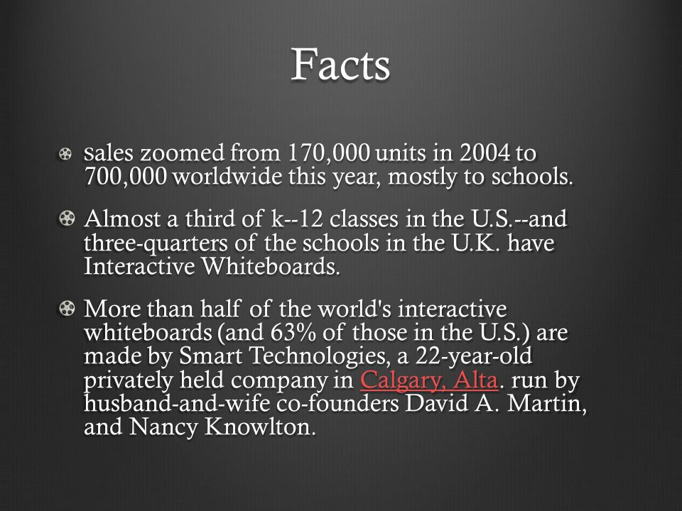 Facts S ales zoomed from 170,000 units in 2004 to 700,000 worldwide this year, mostly to schools. Almost a third of k--12 classes in the U.S.--and thr