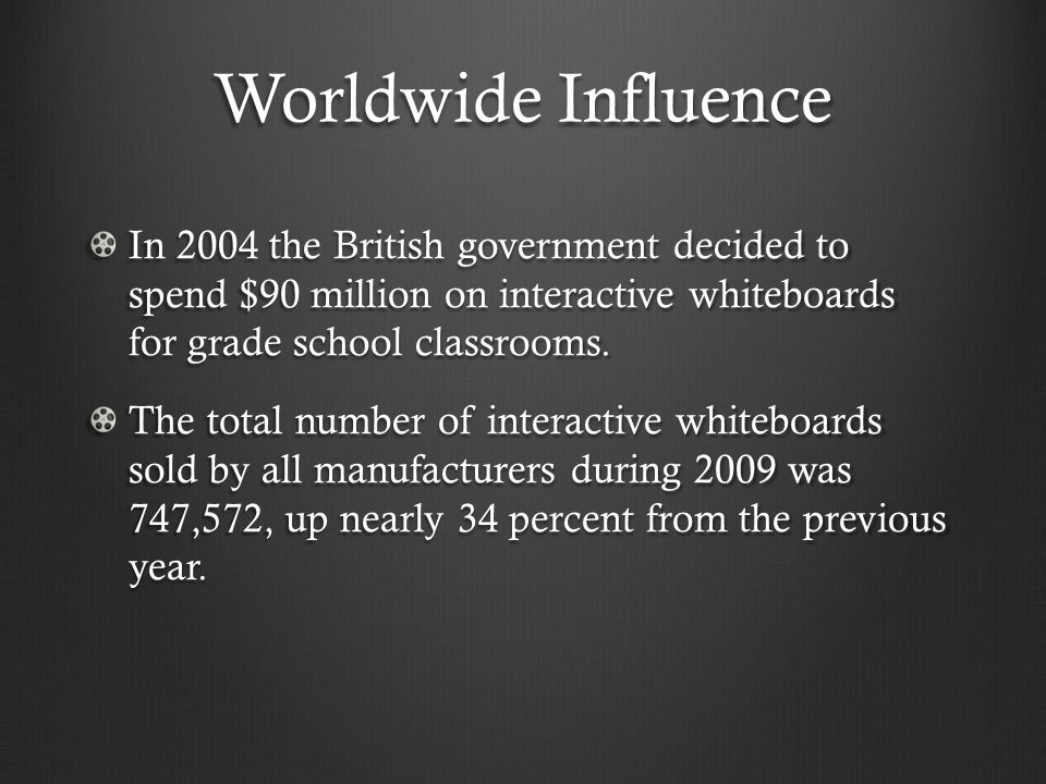 Worldwide Influence In 2004 the British government decided to spend $90 million on interactive whiteboards for grade school classrooms. The total numb