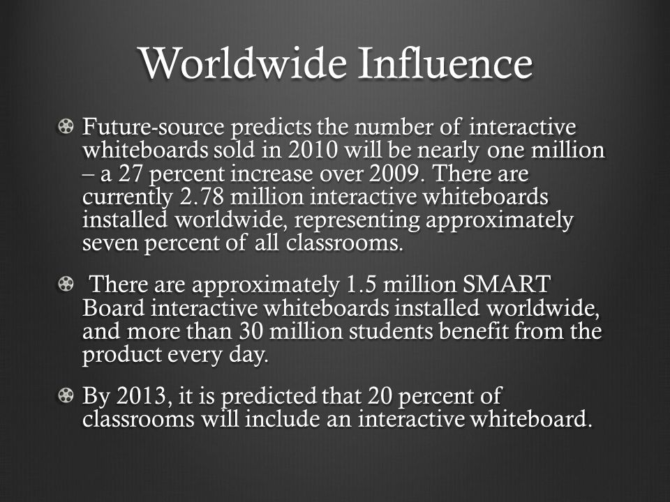 Worldwide Influence Future-source predicts the number of interactive whiteboards sold in 2010 will be nearly one million – a 27 percent increase over