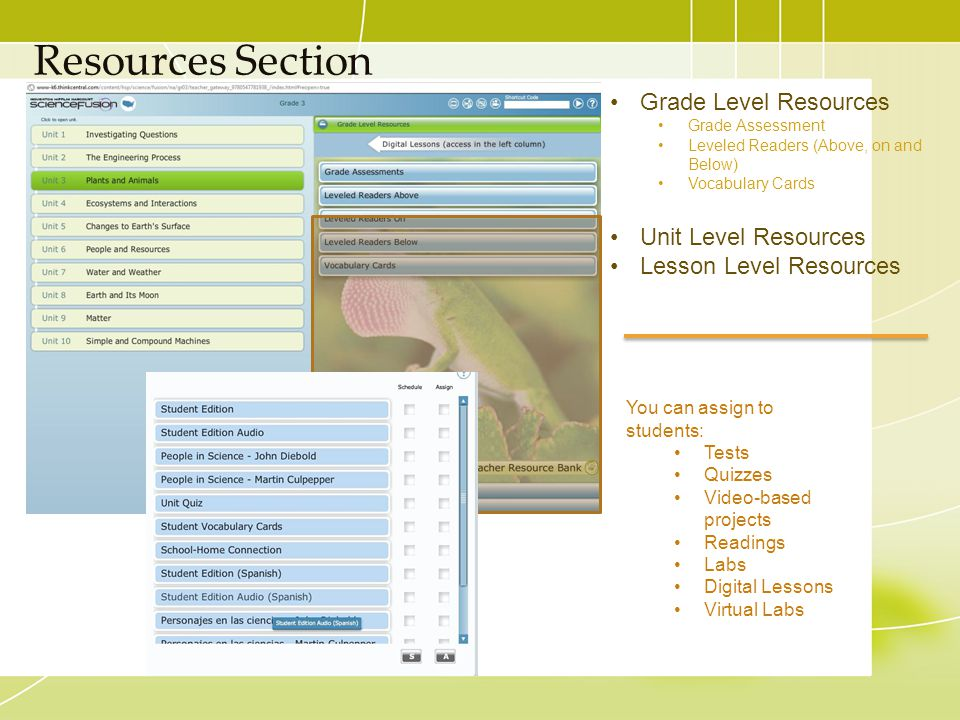 Resources Section You can assign to students: Tests Quizzes Video-based projects Readings Labs Digital Lessons Virtual Labs Grade Level Resources Grad