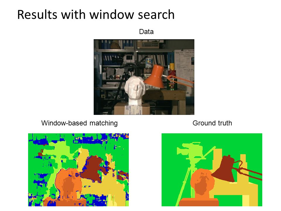 Results with window search Window-based matchingGround truth Data