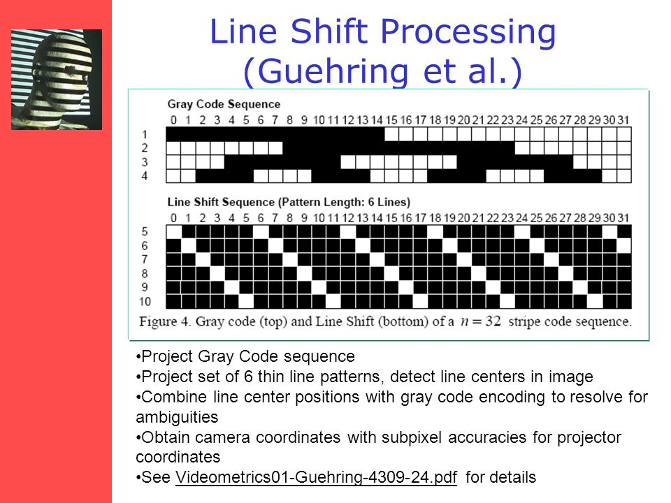 Line Shift Processing (Guehring et al.) Project Gray Code sequence Project set of 6 thin line patterns, detect line centers in image Combine line center positions with gray code encoding to resolve for ambiguities Obtain camera coordinates with subpixel accuracies for projector coordinates See Videometrics01-Guehring-4309-24.pdf for details