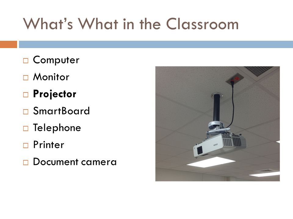 What's What in the Classroom  Computer  Monitor  Projector  SmartBoard  Telephone  Printer  Document camera