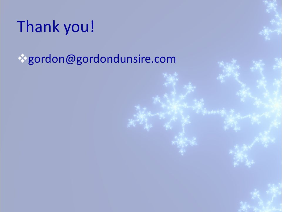 Thank you!  gordon@gordondunsire.com