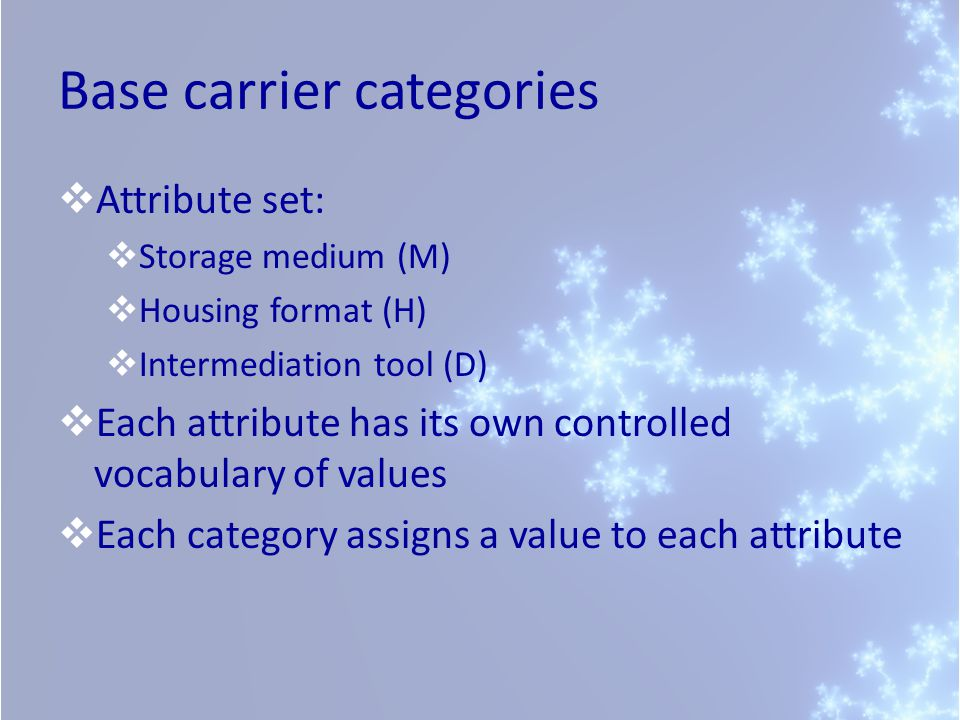 Base carrier categories  Attribute set:  Storage medium (M)  Housing format (H)  Intermediation tool (D)  Each attribute has its own controlled v