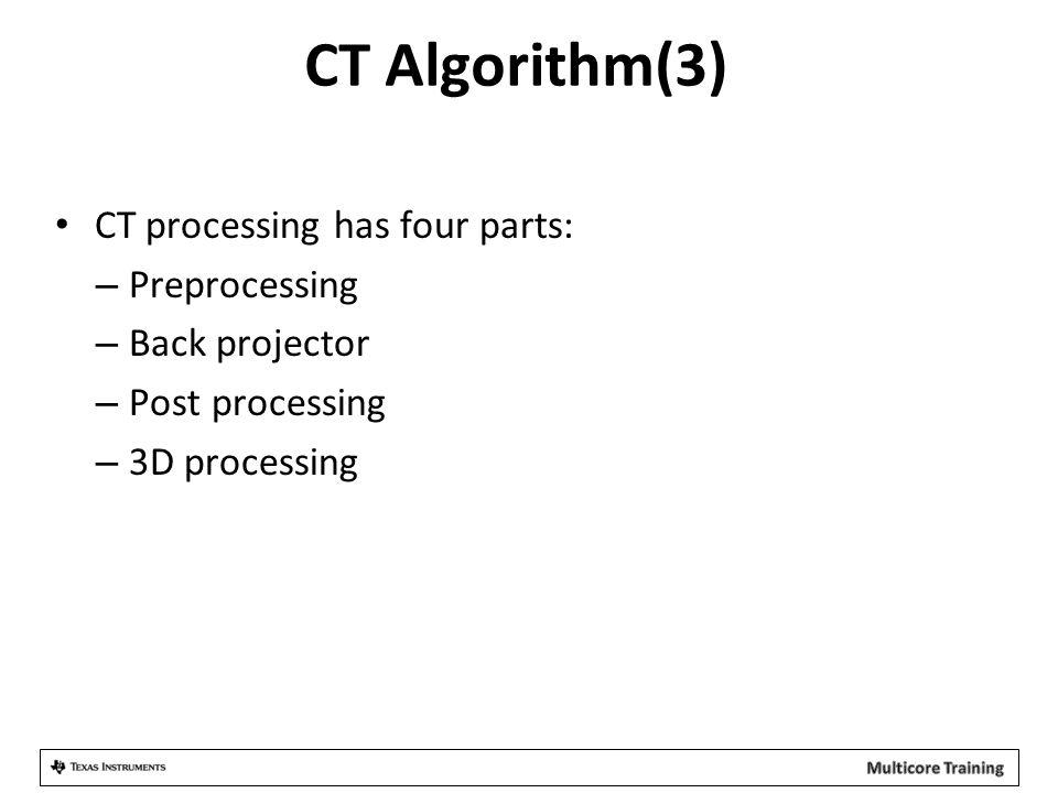 CT Algorithm(3) CT processing has four parts: – Preprocessing – Back projector – Post processing – 3D processing