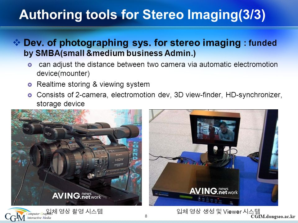 CGIM.dongseo.ac.kr 8 Authoring tools for Stereo Imaging(3/3)  Dev.