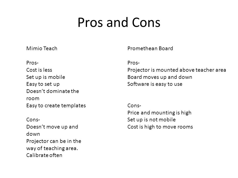 Pros and Cons Mimio Teach Pros- Cost is less Set up is mobile Easy to set up Doesn't dominate the room Easy to create templates Cons- Doesn't move up and down Projector can be in the way of teaching area.