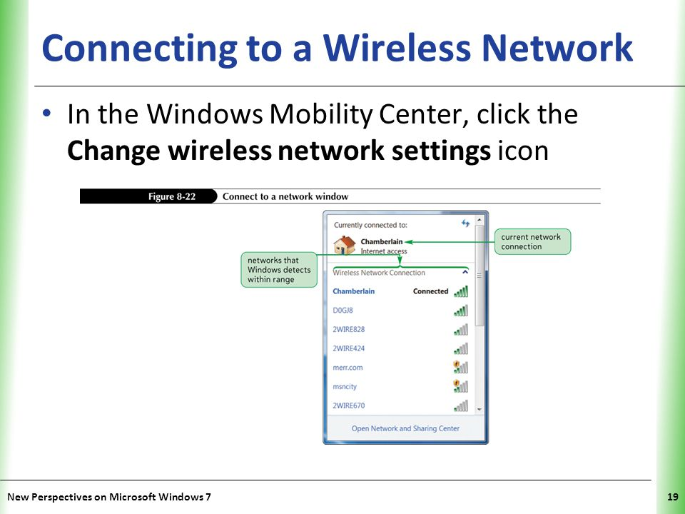 XP Connecting to a Wireless Network In the Windows Mobility Center, click the Change wireless network settings icon New Perspectives on Microsoft Windows 719