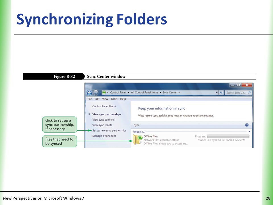XP Synchronizing Folders New Perspectives on Microsoft Windows 728