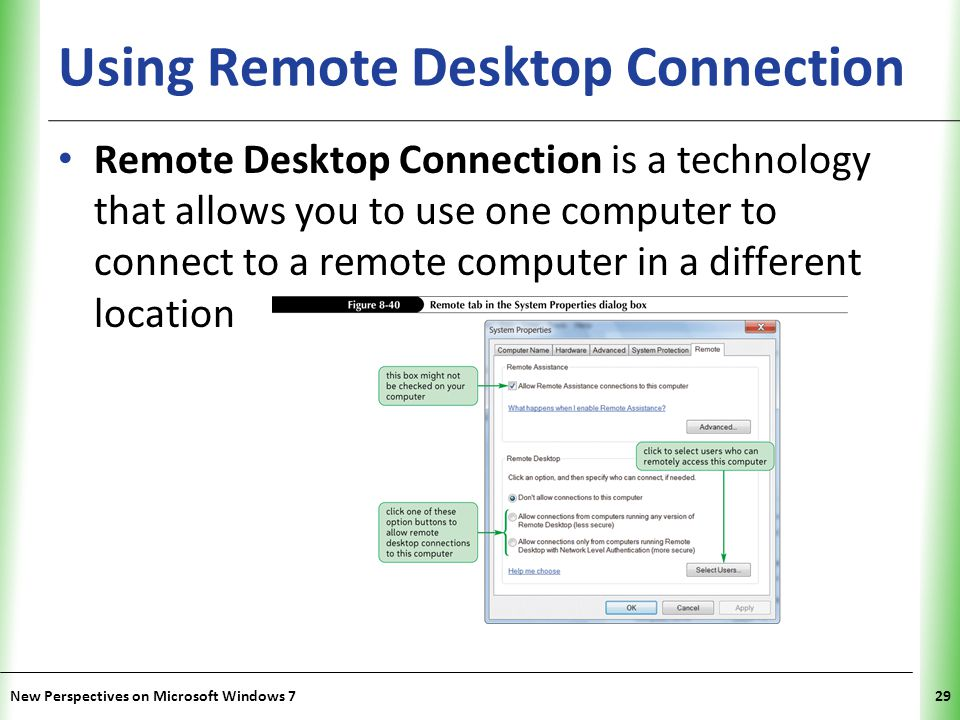 XP Using Remote Desktop Connection Remote Desktop Connection is a technology that allows you to use one computer to connect to a remote computer in a different location New Perspectives on Microsoft Windows 729