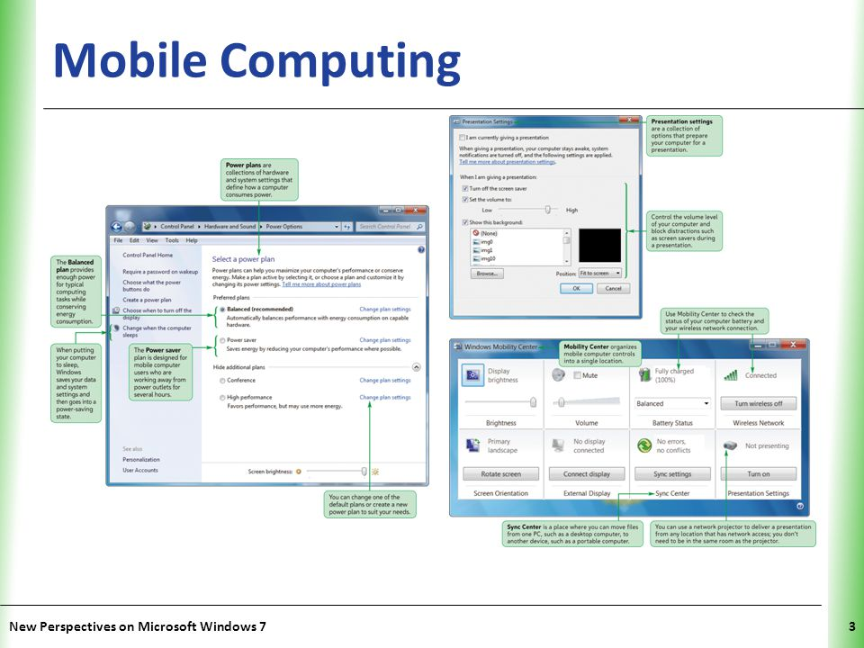 XP Mobile Computing New Perspectives on Microsoft Windows 73