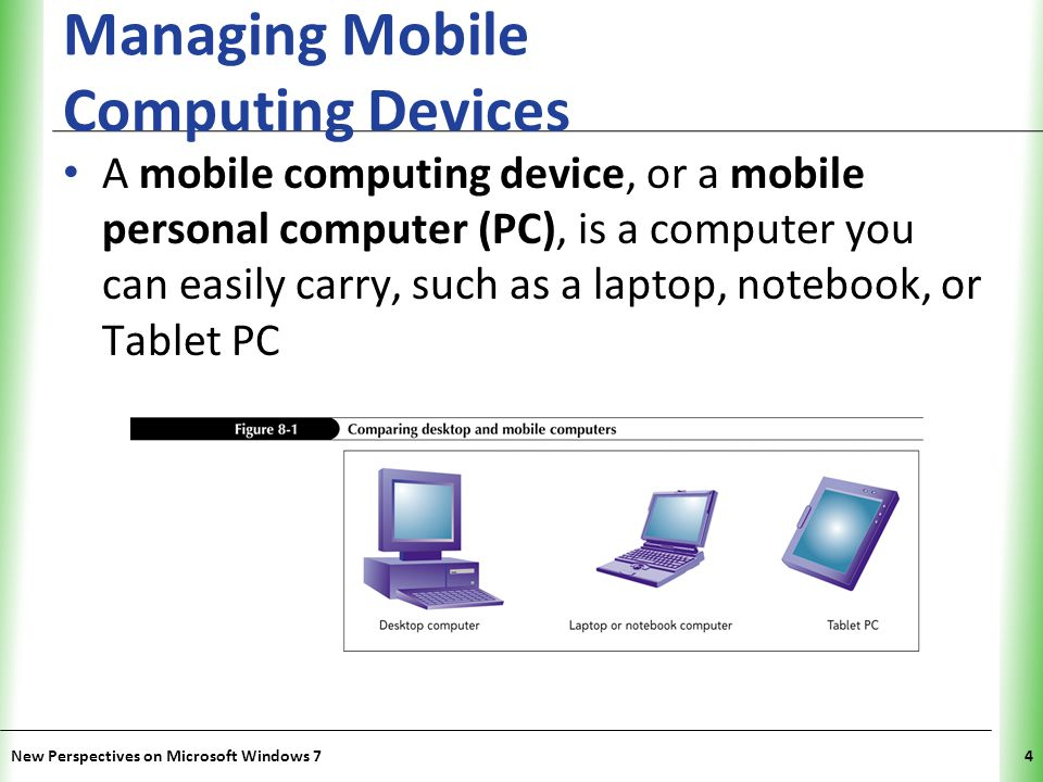 XP Managing Mobile Computing Devices A mobile computing device, or a mobile personal computer (PC), is a computer you can easily carry, such as a laptop, notebook, or Tablet PC New Perspectives on Microsoft Windows 74