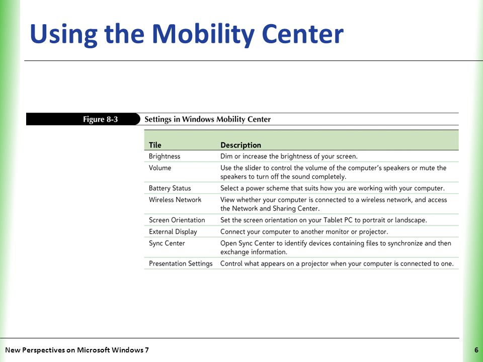 XP Selecting a Power Plan Click the Start button, point to All Programs, click Accessories, and then click Windows Mobility Center.