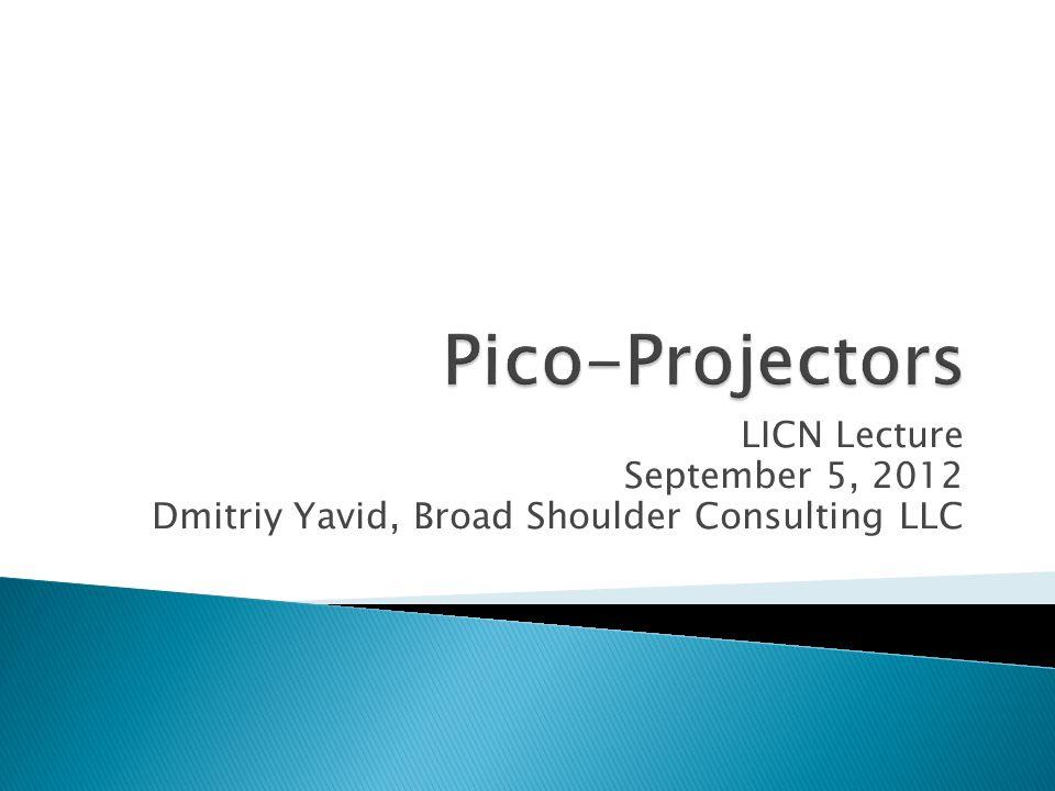 LICN Lecture September 5, 2012 Dmitriy Yavid, Broad Shoulder Consulting LLC