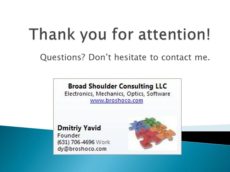 Questions? Don't hesitate to contact me.