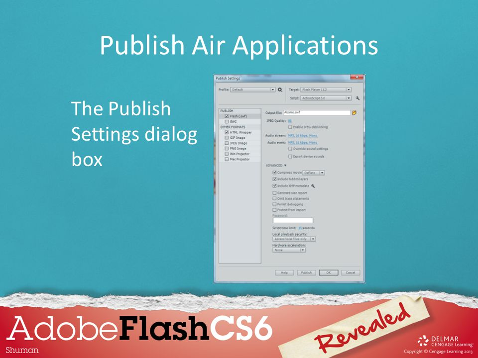 The Publish Settings dialog box Publish Air Applications