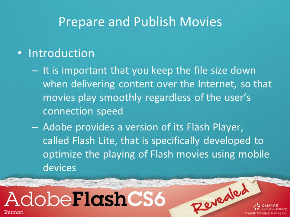 Introduction – It is important that you keep the file size down when delivering content over the Internet, so that movies play smoothly regardless of