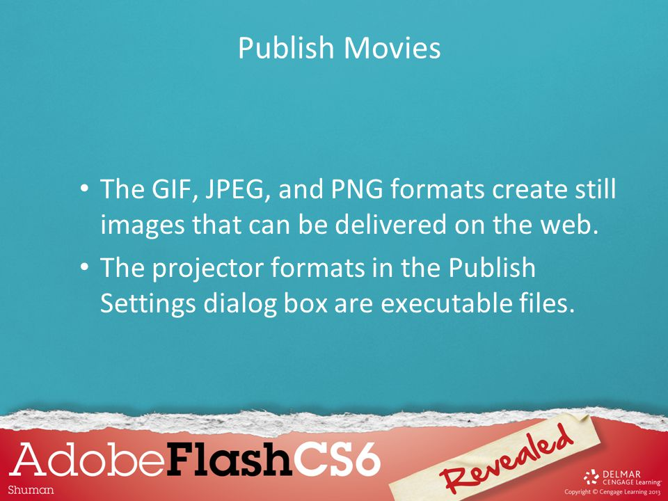 The GIF, JPEG, and PNG formats create still images that can be delivered on the web. The projector formats in the Publish Settings dialog box are exec