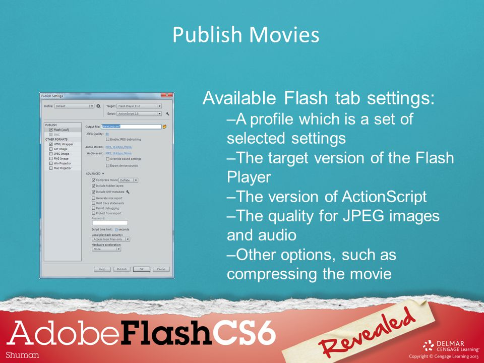 Available Flash tab settings: –A profile which is a set of selected settings –The target version of the Flash Player –The version of ActionScript –The