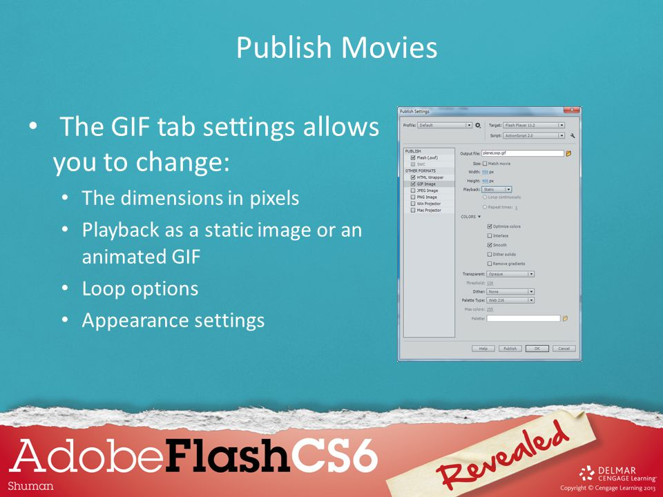 You can use the Publish Preview command on the File menu to publish a movie and display the movie in either your default browser or the Flash Player.