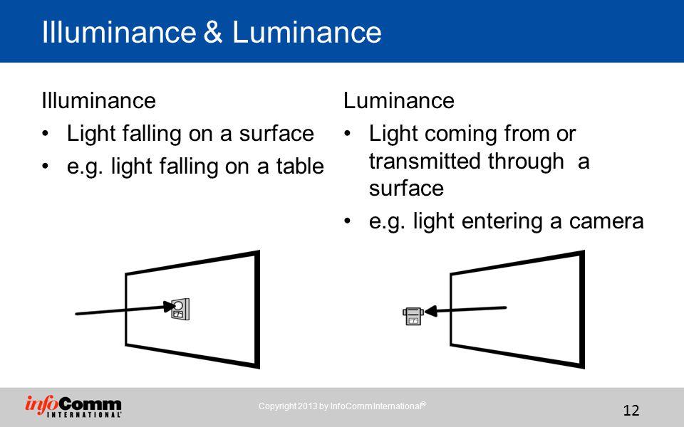 12 Illuminance & Luminance Illuminance Light falling on a surface e.g.