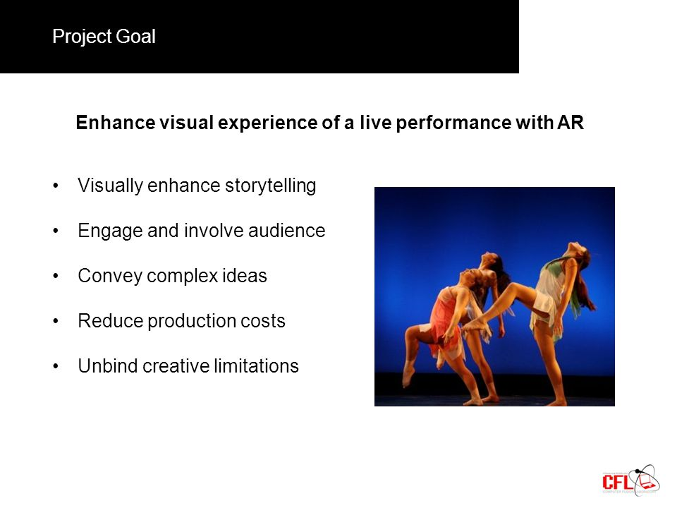 Project Goal Enhance visual experience of a live performance with AR Visually enhance storytelling Engage and involve audience Convey complex ideas Reduce production costs Unbind creative limitations