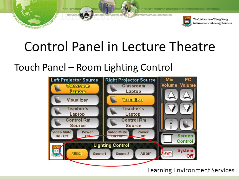 Control Panel in Lecture Theatre Touch Panel – Room Lighting Control Learning Environment Services