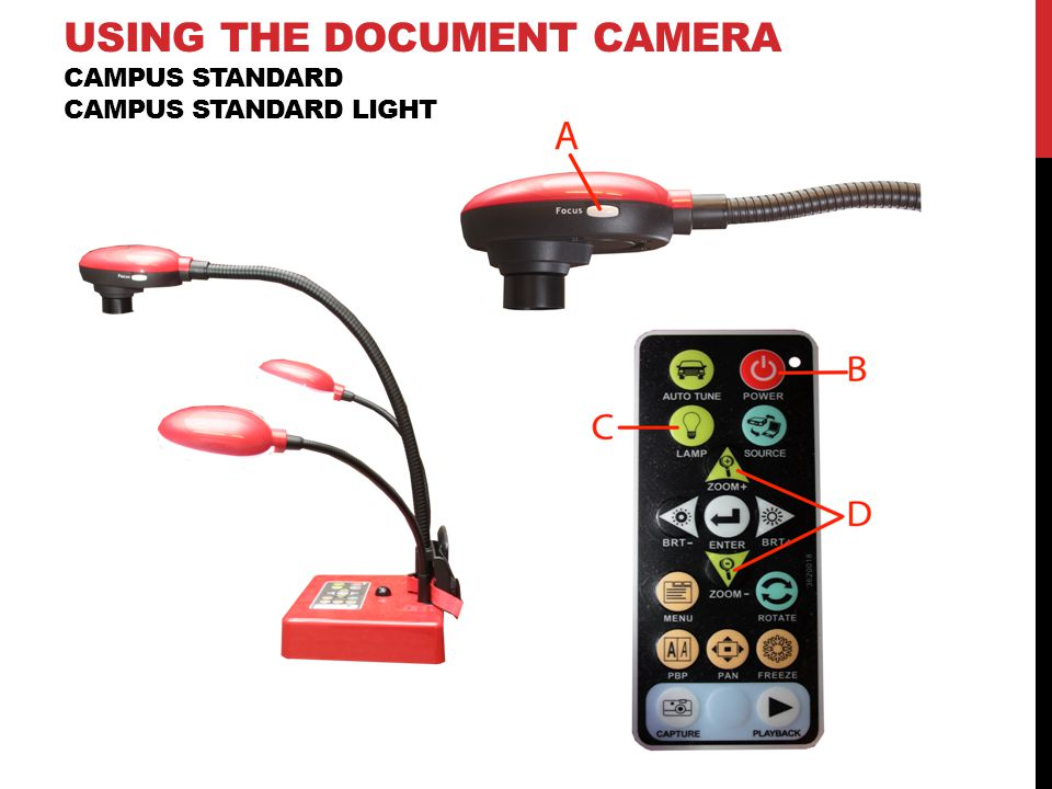 USING THE DOCUMENT CAMERA CAMPUS STANDARD CAMPUS STANDARD LIGHT