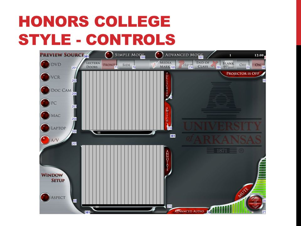HONORS COLLEGE STYLE - CONTROLS