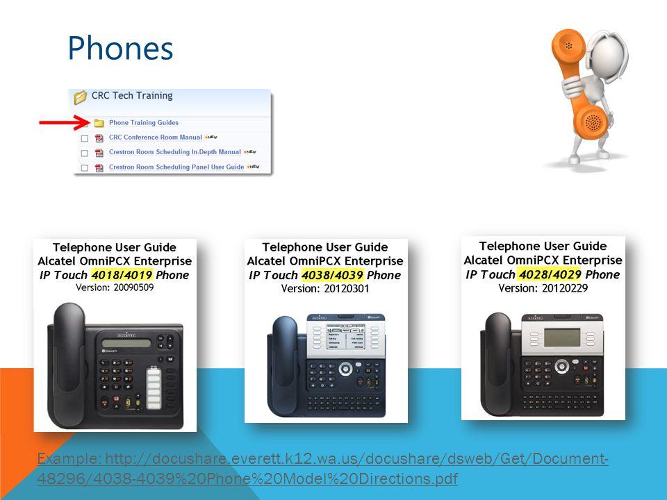 Phones Example: http://docushare.everett.k12.wa.us/docushare/dsweb/Get/Document- 48296/4038-4039%20Phone%20Model%20Directions.pdf
