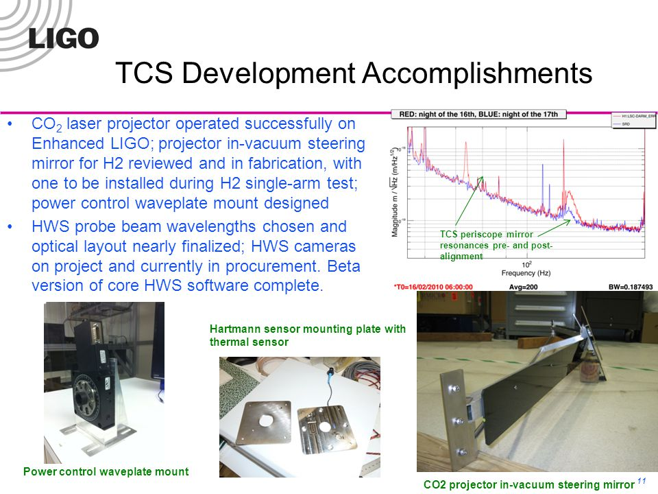 11 TCS Development Accomplishments CO 2 laser projector operated successfully on Enhanced LIGO; projector in-vacuum steering mirror for H2 reviewed and in fabrication, with one to be installed during H2 single-arm test; power control waveplate mount designed HWS probe beam wavelengths chosen and optical layout nearly finalized; HWS cameras on project and currently in procurement.