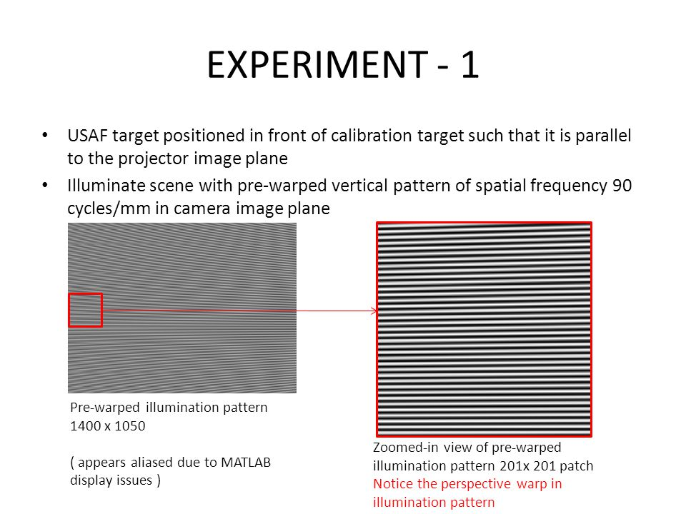 EXPERIMENT - 1 USAF target positioned in front of calibration target such that it is parallel to the projector image plane Illuminate scene with pre-warped vertical pattern of spatial frequency 90 cycles/mm in camera image plane Pre-warped illumination pattern 1400 x 1050 ( appears aliased due to MATLAB display issues ) Zoomed-in view of pre-warped illumination pattern 201x 201 patch Notice the perspective warp in illumination pattern