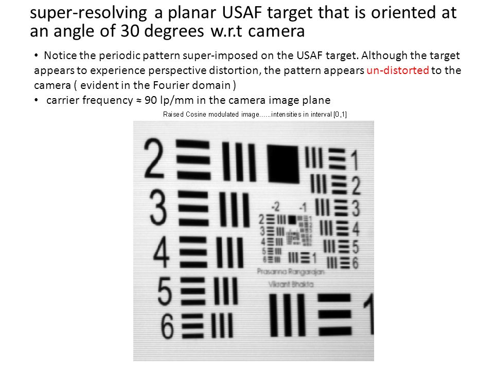 super-resolving a planar USAF target that is oriented at an angle of 30 degrees w.r.t camera Notice the periodic pattern super-imposed on the USAF target.