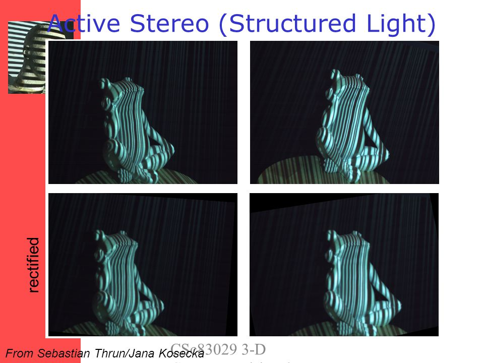 Triangulation Project laser stripe onto object Object Laser CameraCamera Light Plane Courtesy S.