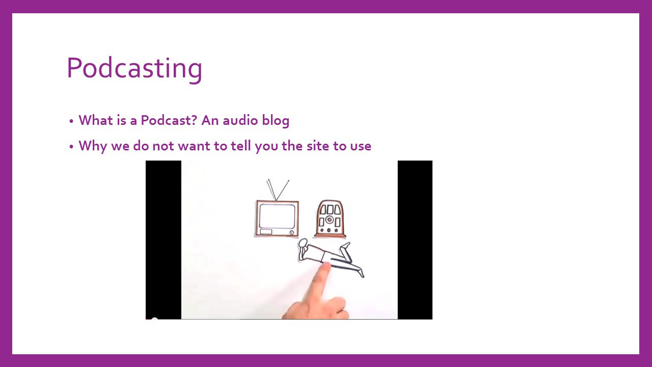 Podcasting What is a Podcast? An audio blog Why we do not want to tell you the site to use