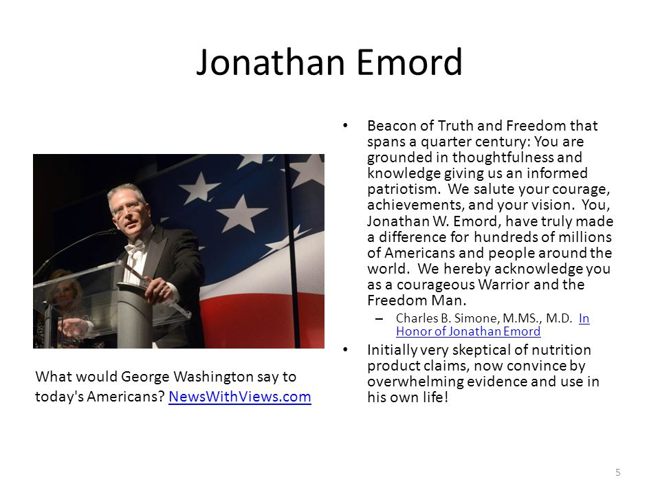 Jonathan Emord Beacon of Truth and Freedom that spans a quarter century: You are grounded in thoughtfulness and knowledge giving us an informed patriotism.