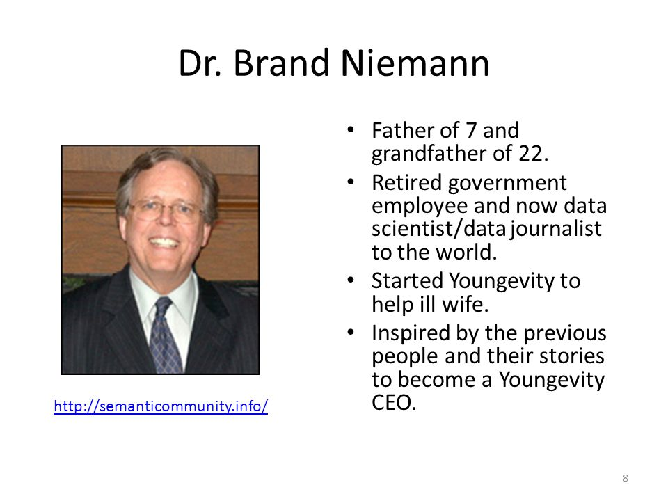 Dr.Brand Niemann Father of 7 and grandfather of 22.