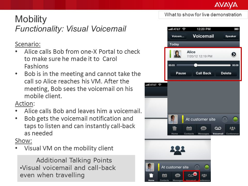 Mobility Functionality: Visual Voicemail Scenario: Alice calls Bob from one-X Portal to check to make sure he made it to Carol Fashions Bob is in the meeting and cannot take the call so Alice reaches his VM.