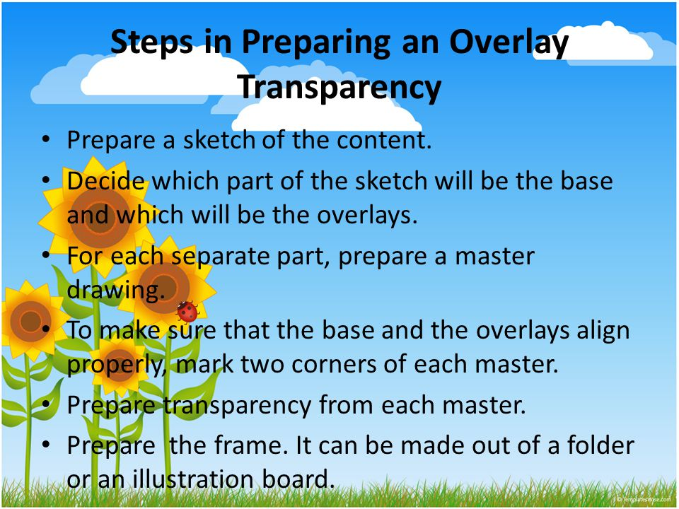 Steps in Preparing an Overlay Transparency Prepare a sketch of the content.