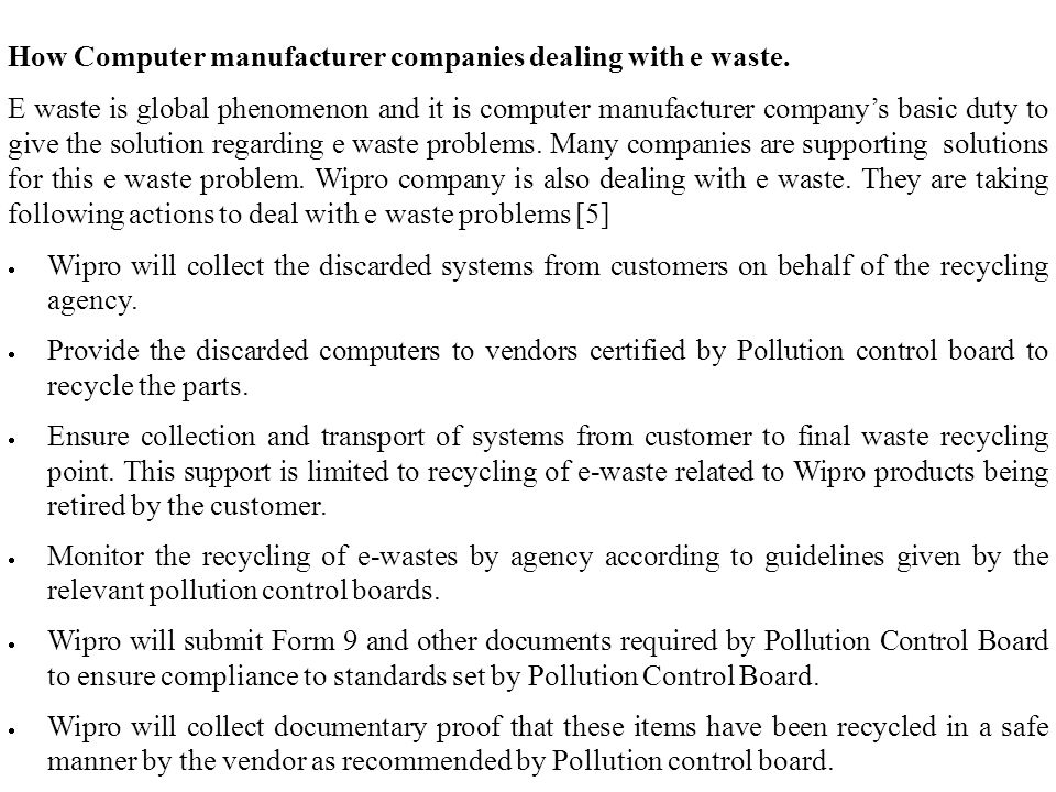 How Computer manufacturer companies dealing with e waste.