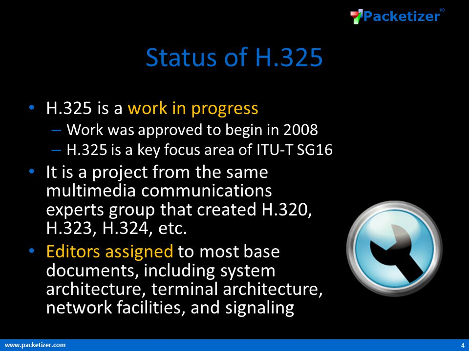 www.packetizer.com Packetizer ® Status of H.325 H.325 is a work in progress – Work was approved to begin in 2008 – H.325 is a key focus area of ITU-T SG16 It is a project from the same multimedia communications experts group that created H.320, H.323, H.324, etc.