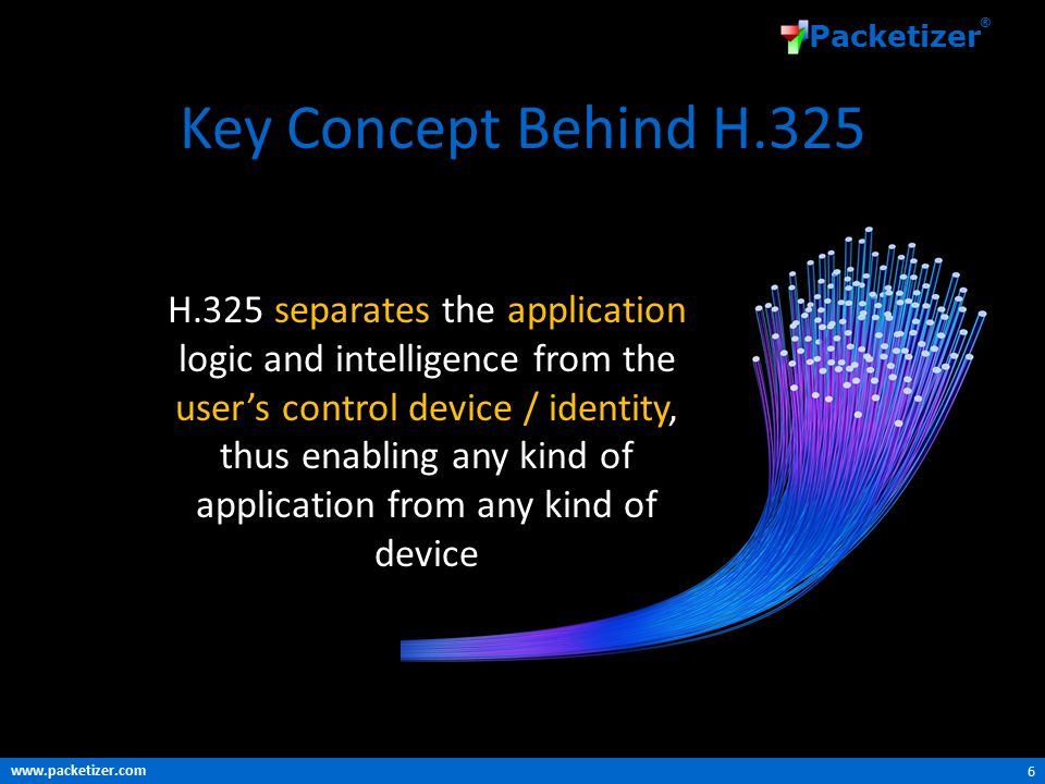 www.packetizer.com Packetizer ® Key Concept Behind H.325 6 H.325 separates the application logic and intelligence from the user's control device / identity, thus enabling any kind of application from any kind of device