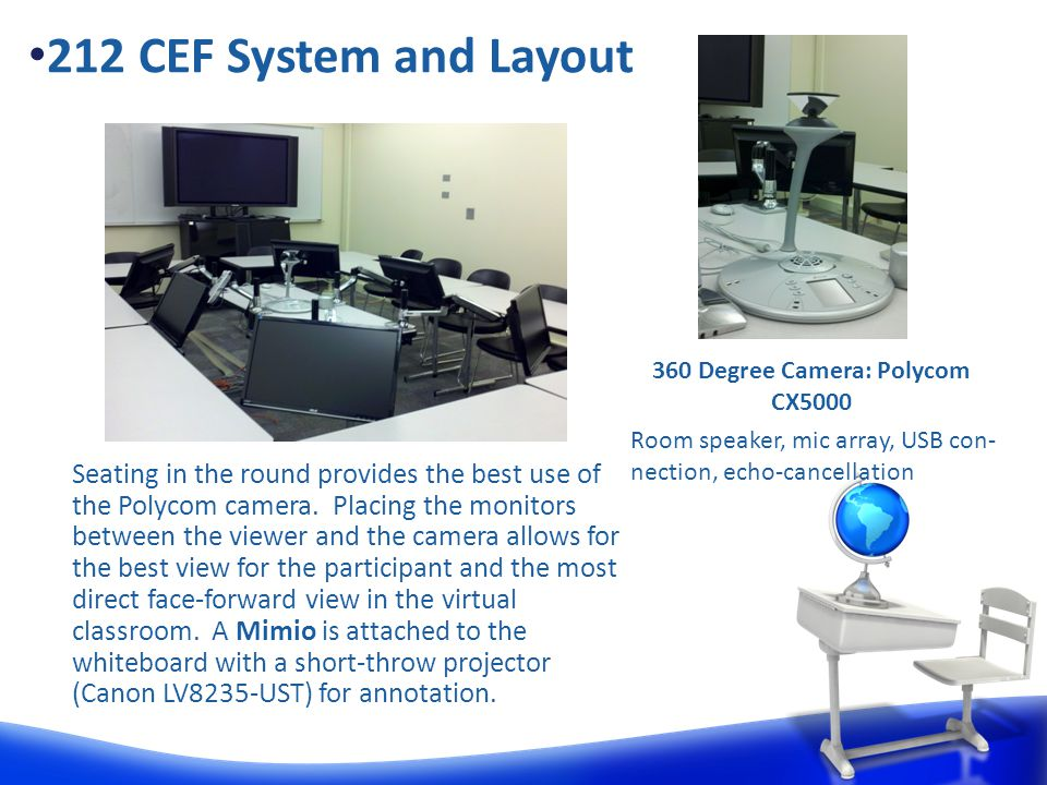 Seating in the round provides the best use of the Polycom camera.