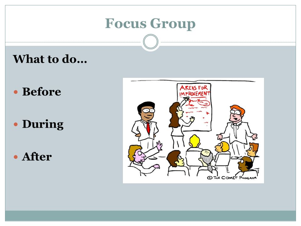 Focus Group What to do… Before During After