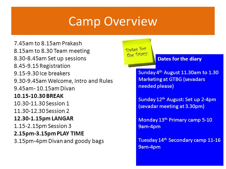 Camp Overview 7.45am to 8.15am Prakash 8.15am to 8.30 Team meeting 8.30-8.45am Set up sessions 8.45-9.15 Registration 9.15-9.30 Ice breakers 9.30-9.45am Welcome, Intro and Rules 9.45am- 10.15am Divan 10.15-10.30 BREAK 10.30-11.30 Session 1 11.30-12.30 Session 2 12.30-1.15pm LANGAR 1.15-2.15pm Session 3 2.15pm-3.15pm PLAY TIME 3.15pm-4pm Divan and goody bags Dates for the diary Sunday 4 th August 11.30am to 1.30 Marketing at GTBG (sevadars needed please) Sunday 12 th August: Set up 2-4pm (sevadar meeting at 3.30pm) Monday 13 th Primary camp 5-10 9am-4pm Tuesday 14 th Secondary camp 11-16 9am-4pm